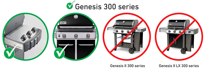 For Genesis 300 Series grills with front- and side-mounted control panel