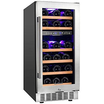 Aobosi 15 Inch Wine Cooler - Best dual-zone wine fridge for any occasion