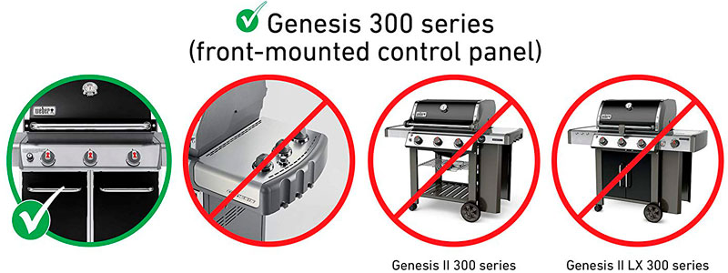 For Genesis 300 Series grills with front-mounted control panel