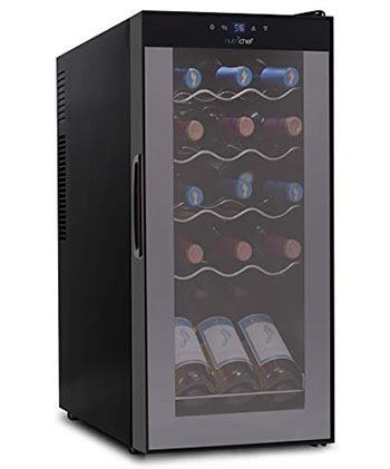 NutriChef 15 Bottle Wine Cooler Refrigerator - Best Compact freestanding wine fridge